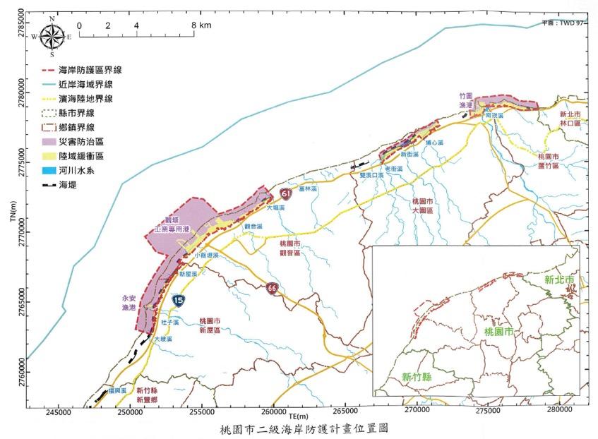 桃園市二級海岸防護計畫位置圖